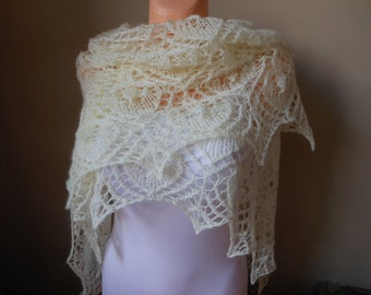 Lace shawl mohair yarn  cream, hand knitted, triangular shawl