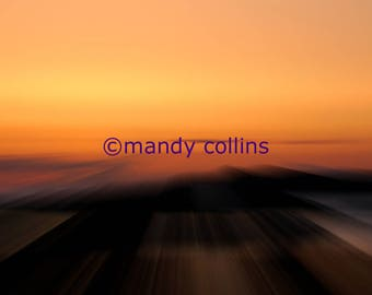 Fine Art Photography - 'Sunset 5 Traeth Crigyll' is an abstract artwork of a beautiful sunset at Rhosneigr, Anglesey, North Wales