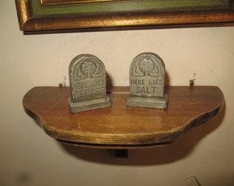 Tombstone Salt & Pepper Shakers, vintage headstones, metal gravestones w/ free ship