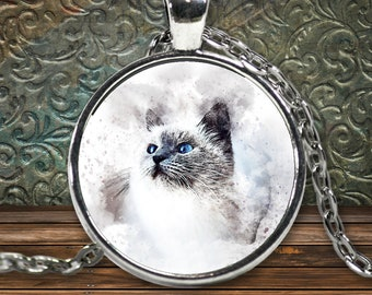 Cat Lover Necklace Watercolor Design