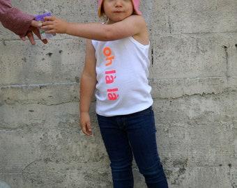 Oh La La Baby Hat /Kids Hat - Upcycled Aviator Hat / Bomber Hat, Reversible Hat
