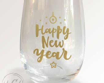 Happy New Year Stemless Wineglass
