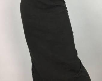 90s brocade khaki green pencil midi skirt/1990s fitted midi