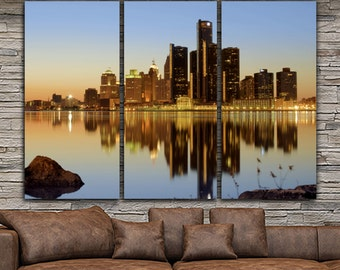 Detroit Skyline Canvas Set, Large Wall art of Detroit Print, Detroit Canvas, Detroit Art, Detroit Photo, Large Wall Art, Detroit Wall Art