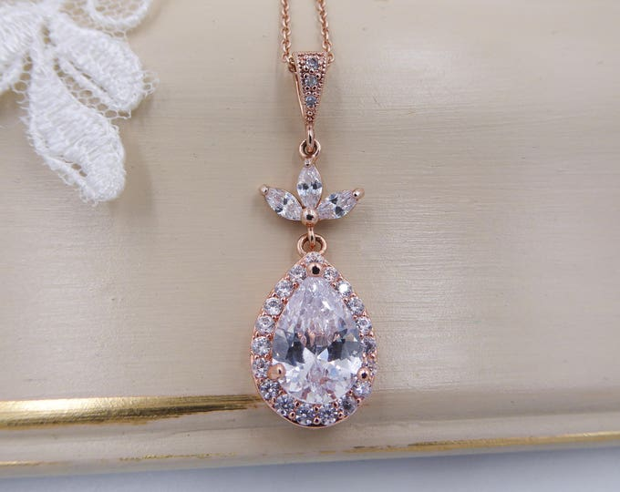 Crystal necklace pendant, rose gold, necklace set, earrings, zirconia pear drop, Bridesmaid, bride necklace set, silver necklace,