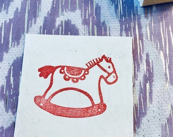 Rocking hourse rubber stamp//hand carved rubber stamp