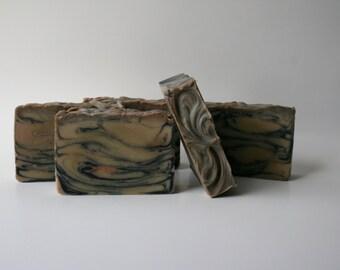 Sandalwood Vanilla Handmade Soap with clay & charcoal