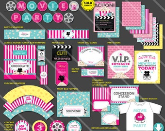 Movie Birthday Party Printables | Movie Theme Printable Party Package | Movie Theater Decor | Invitation Available | Instant Download