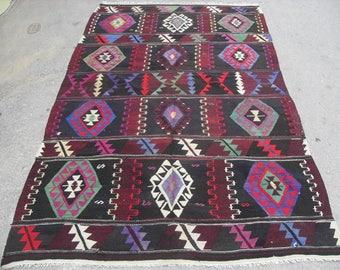 """Vintage Turkish kilim rug, 106"""" x 54"""" kilim rug, colorful area rug, vintage rug, bohemian rug, rugs, colorful striped rugs, large area rug"""