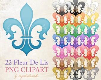 Fleur de lis clipart Fleur-de-lis Design elements Stylized lily flower Scrapbook embellishment fiordaliso