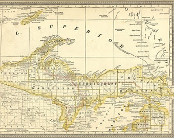 Poster, Many Sizes Available; Map Of Upper Peninsula Michigan 1881