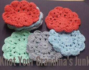 Beach Theme Coasters, Crochet Coasters, Cotton Coasters