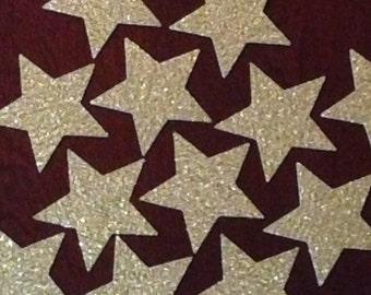 2-inch gold glitter star die cuts (one dozen)