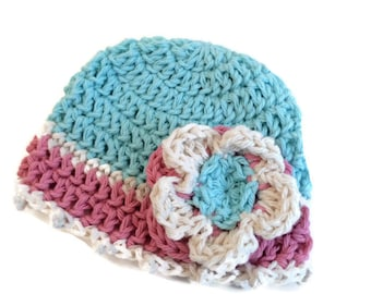 Crocheted cotton beanie for newborn baby girl