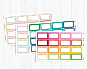 Square half boxes/planner stickers/ECLP/EC vertical/erin condren life planner/multicolor functional/rainbow neutral pastel/gold line