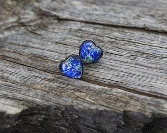 Earth, Planet Earth Earrings, Heart Shaped Planet Earrings, Planet Studs, Solar System Earrings, Solar System, Galaxy Earrings, Space