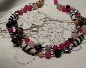 Rose quartz, jasper, jade two strand necklace