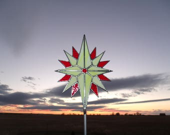Large Tree Topper, Yellow Stained Glass Star Christmas Tree Topper