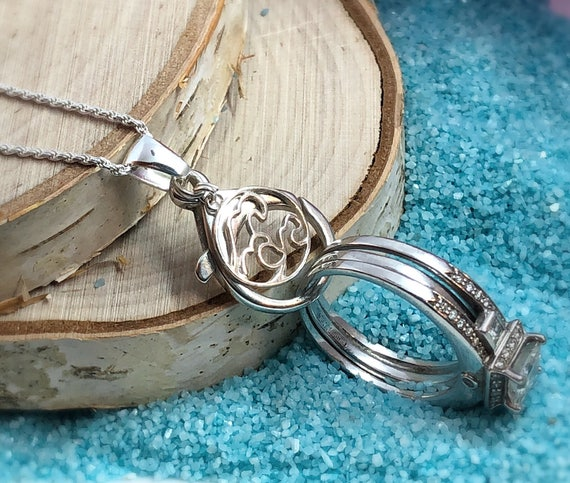 AloraLocks Ocean Waves Wedding Ring Holder Pendant Sterling