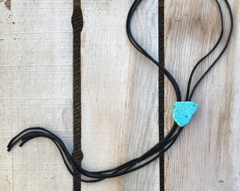Leather and Turquoise Slab Bolo Tie Necklace