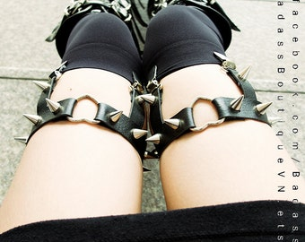 ONE PAIR (two garters) of silver heart ring black vegan leather adjustable straps spike, stud garters - sexy rock punk goth lingerie