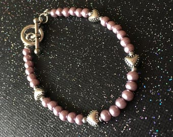 Fairytale Pearl Bracelet with Hearts