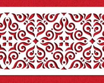 Mexican Tile Cake Side Stencil for Cakes & Cupcakes - Designer Stencils (C544)