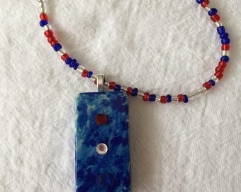Hand Painted And Beaded Domino Necklace