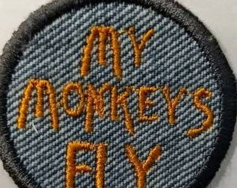 My Monkeys Fly Iron On Patch Merit Badge