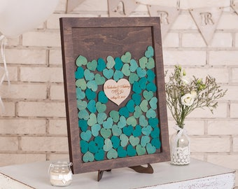 Wedding Guest Book Drop Box Wedding Guestbook Alternative Drop Box Guest book Hearts drop top guestbook Wedding Sign Turquoise and Grey