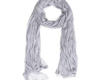 Romantic Gray Crinkle Scarf