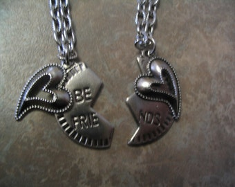 Best Friends Heart Necklace Set Jewelry for Friends or Sisters