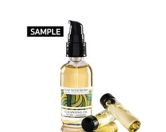 SAMPLE Organic Tea Tree + Lemongrass Oil Cleanser & Makeup Remover, Acne Cleanser, Face Oil, Acne Skin Care, Face Cleanser, Acne Treatment