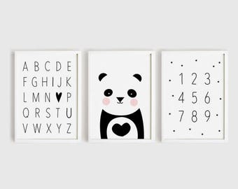 Digital print download - Alphabet and number Printables Heart panda Poster Black and White decor simple Cute Nursery Wall art set 8x10,  A4