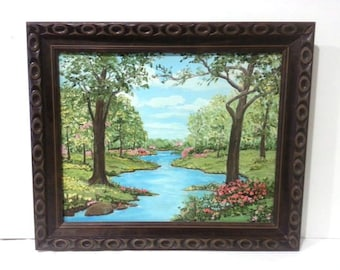 Beautiful Signed Landscaped Oil Painting Stream Meadow Fowers Wood Frame Wall Hanging Shabby Chic Art IT981