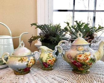 Vintage 1940s Hand Painted Tea Set - Free Shipping
