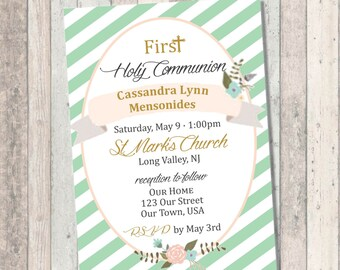 First Communion Invitation- Green Floral