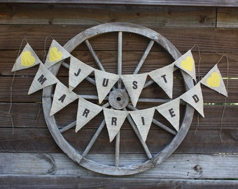 Just Married banner,photo prop with yellow hearts,rustic