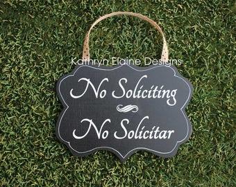 No Soliciting No Solicitar Wooden Door Sign, No Soliciting Sign, No Solicitation Sign