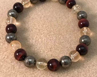 FINANCIAL FOCUS: Citrine Pyrite & RED Tigers Eye 8mm Round Bead Stretch Bracelet with Sterling Silver Accent
