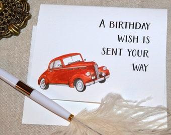 Vintage cars birthday card for man