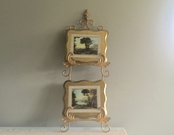 Gold metal wall rack plate holder picture holder double easel from inevintagechic on Etsy Studio & Gold metal wall rack plate holder picture holder double easel from ...