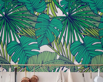 Palm Monstera leaf Wallpaper, Removable Wallpaper, Self-adhesive Wallpaper, Tropical Wall Décor, Jungle Wallcovering - JW010
