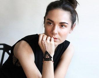 black lace hand bracelet || AMITHI || hand jewelry, modern jewelry, body jewelry, boho bracelet, bohemian, unique gift