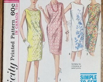 Vintage Shift Dress Simplicity 5980 Size 12 Bust 32""