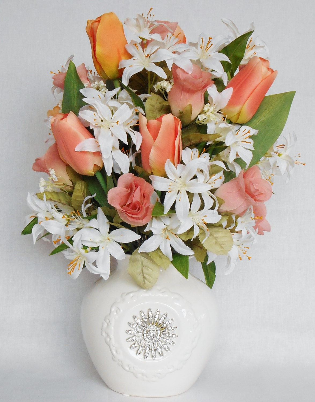 Silk flower arrangement coral tulips coral rosebuds white zoom reviewsmspy