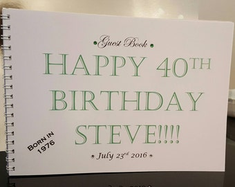 Personalised birthday guest book 18th, 21st, 30th, 40th, 50th, 60th