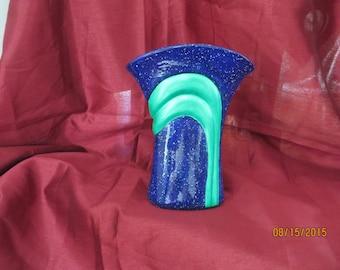 Flared vase glazed blue and green