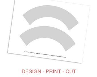 Cupcake Wrapper Template Printable  - DIY Make Your Own Party Cupcake Wrapper Design Template - Instant Download