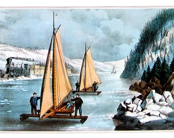 Ice Boat Race on the Hudson - Small Currier and Ives Print - 1980 Vintage Book Page